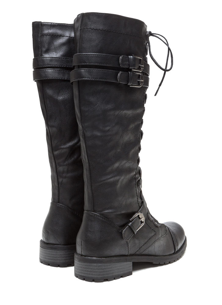 Double Buckle Faux Leather Boots BLACK (Final Sale)