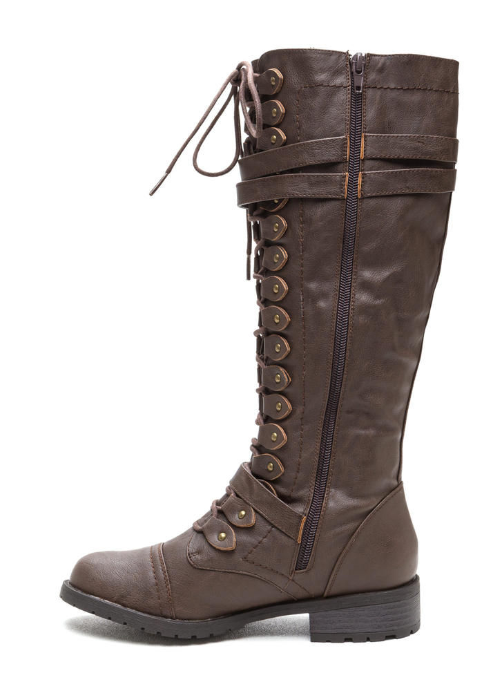 Double Buckle Faux Leather Boots BROWN (Final Sale)