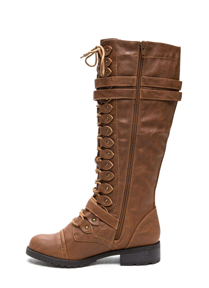 Double Buckle Faux Leather Boots COGNAC (Final Sale)