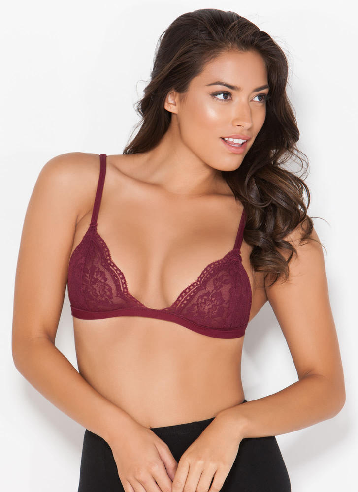 Lovely Lady Lace Bralette BURGUNDY (Final Sale)