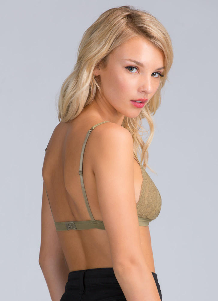 Lovely Lady Lace Bralette OLIVE (Final Sale)
