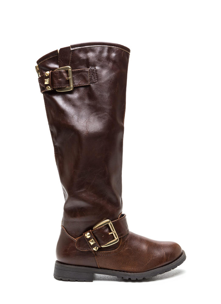 Studly Double Buckle Boots BROWN (Final Sale)