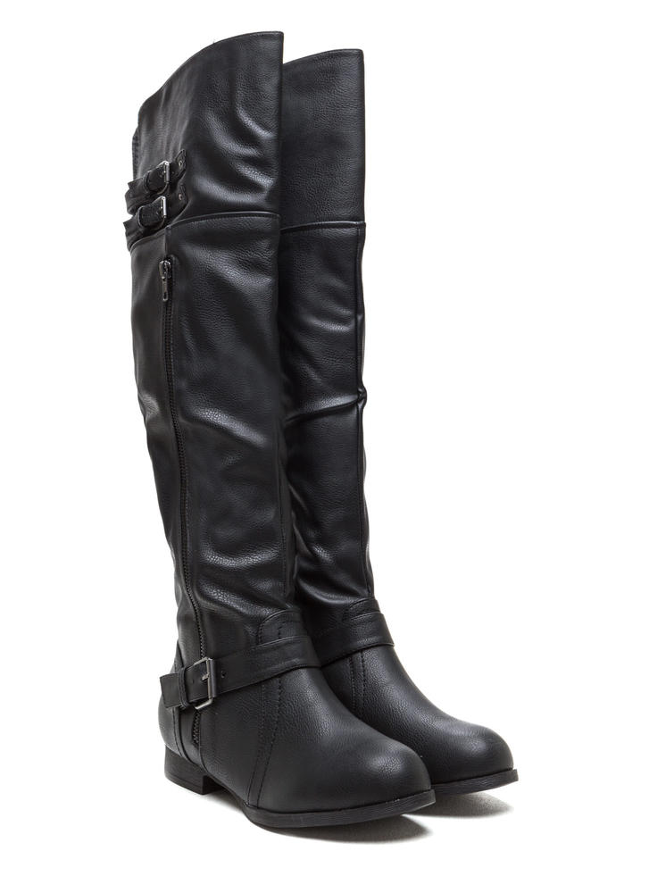 Walk Tall Buckled Boots BLACK
