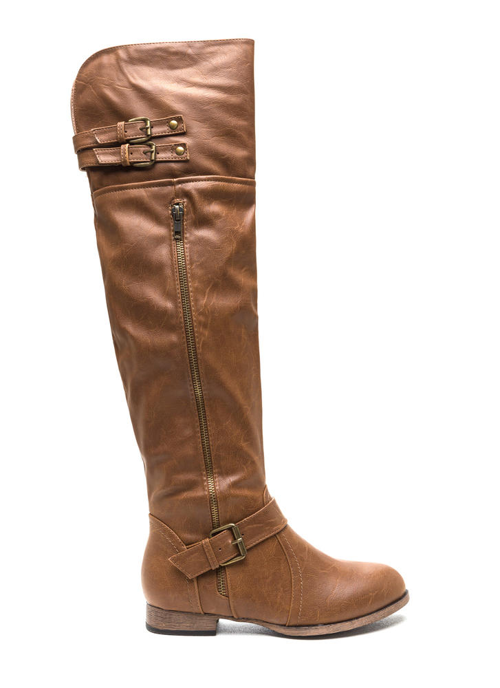 Walk Tall Buckled Boots TAN