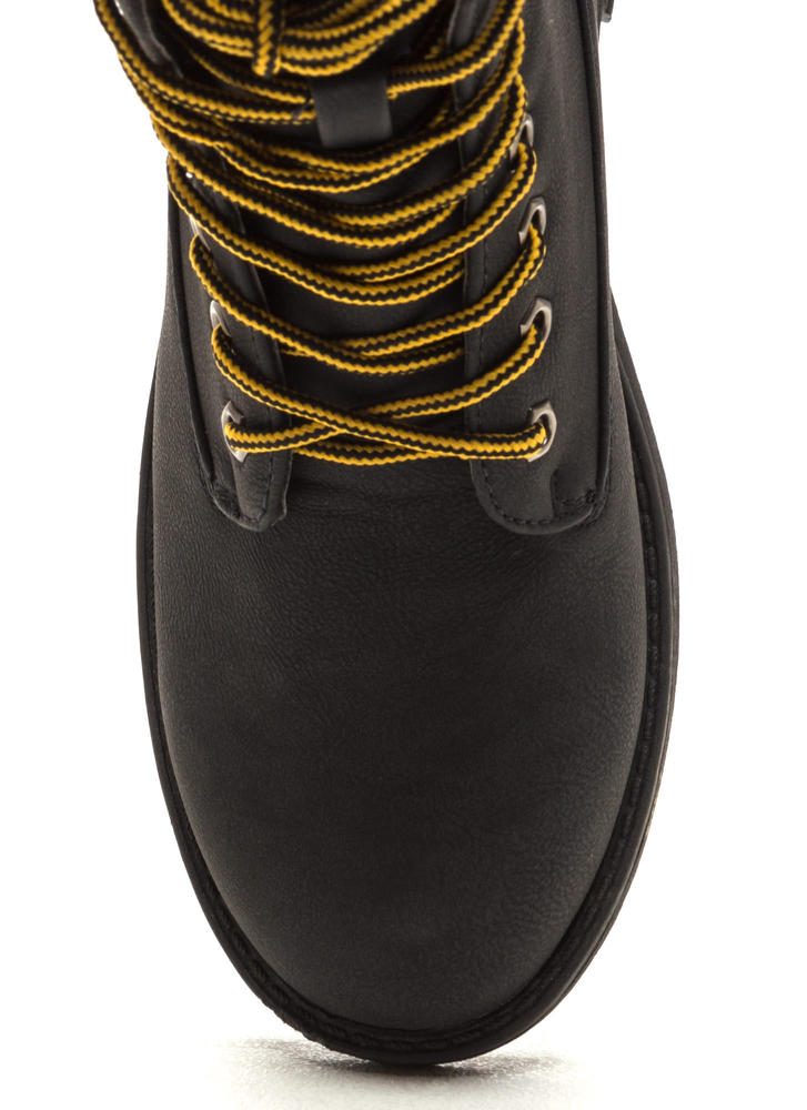 Take A Hike Lace-Up Lug Boots BLACK
