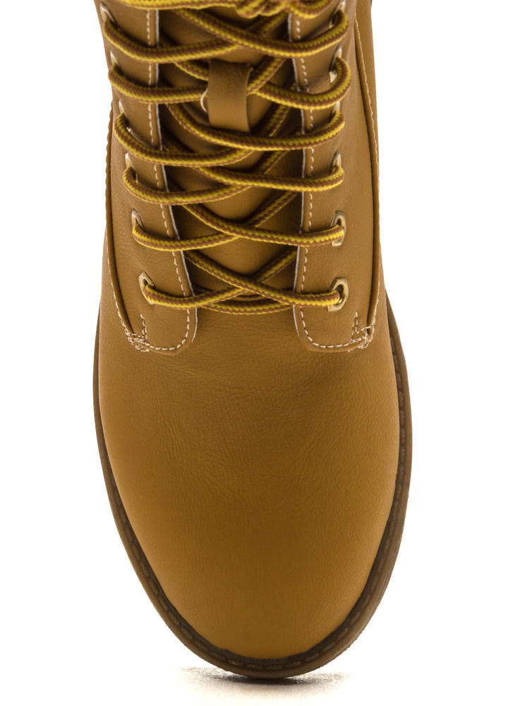 Take A Hike Lace-Up Lug Boots WHEAT