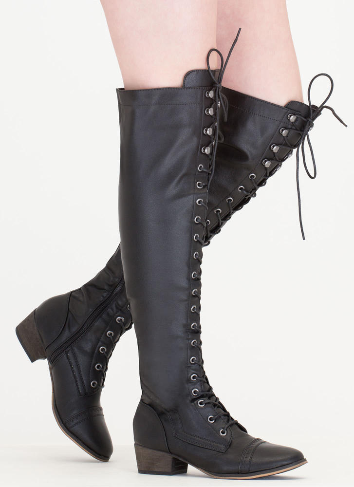 Wing Tip Knee High Boots BLACK