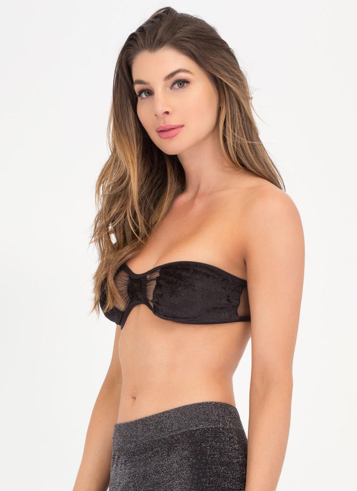 Bow Me Up Velvet Bandeau BLACK (Final Sale)