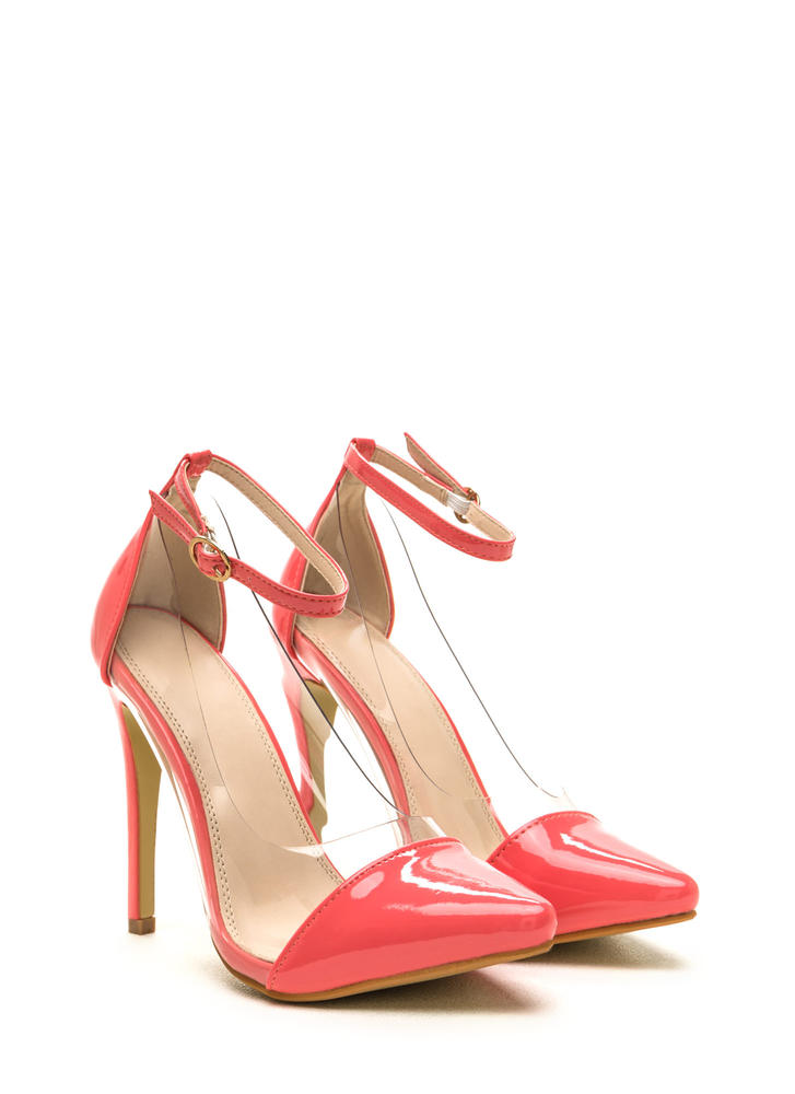 Clear The Way Pointy Pumps CORAL (Final Sale)
