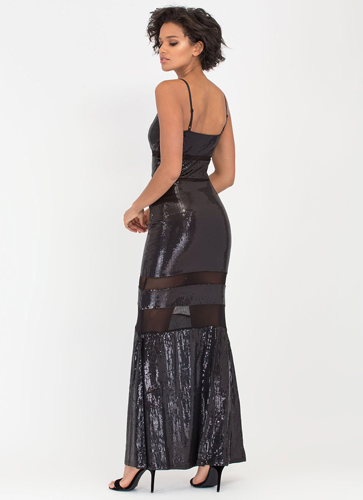 Sequined Mesh Inset Maxi Dress BLACK