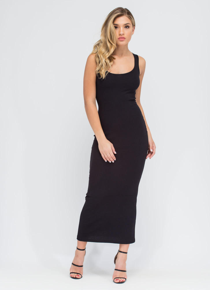 Bring On The Basic Ribbed Maxi Dress
