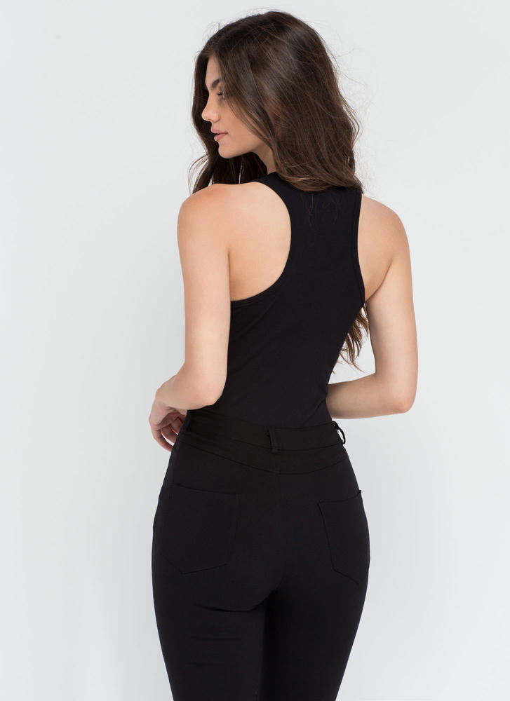 Ace Of Basic Sleeveless Bodysuit BLACK
