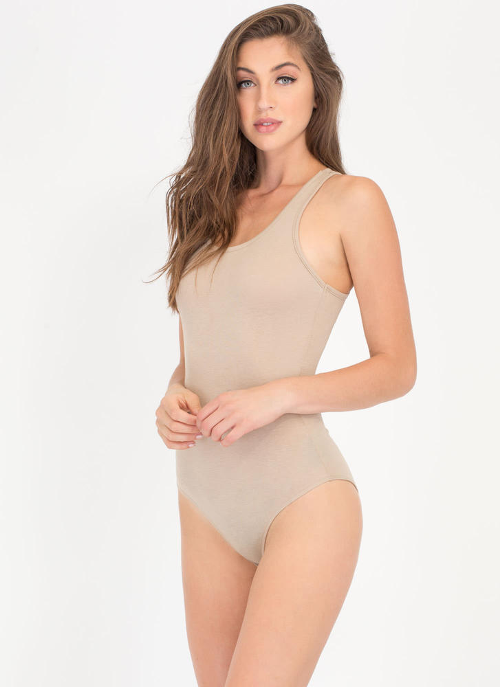 Ace Of Basic Sleeveless Bodysuit KHAKI